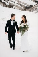 Bride and groom portrait photo in snow