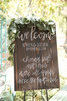 Welcome Sign with Garland Greenery