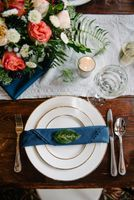 Winter Wedding Table Setting with Leaf