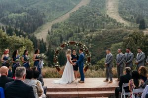 Park City mountain wedding ceremony with bride and groom
