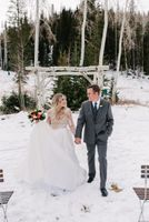 Bride and Groom Winter Park City Mountains
