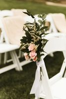 Close up Wedding Chair Flowers