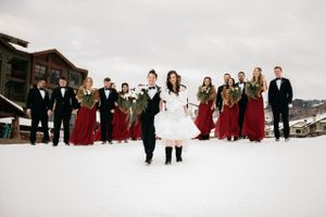 Bridal party walking in snow in mountains