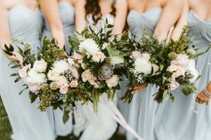 Close up of Bride and Bridesmaids Bouquets
