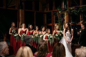 Bridesmaids line in ceremony