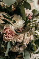 Close up of flowers with Wedding Rings