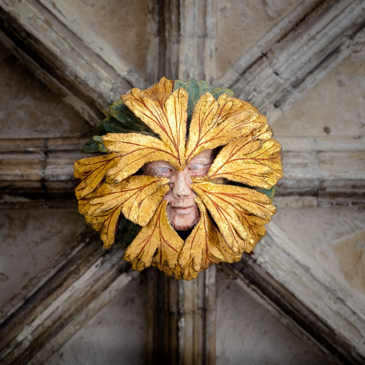 Green Man, Cloisters, Norwich Cathedral, UK