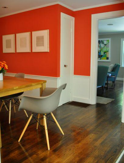 detail red painted dining room