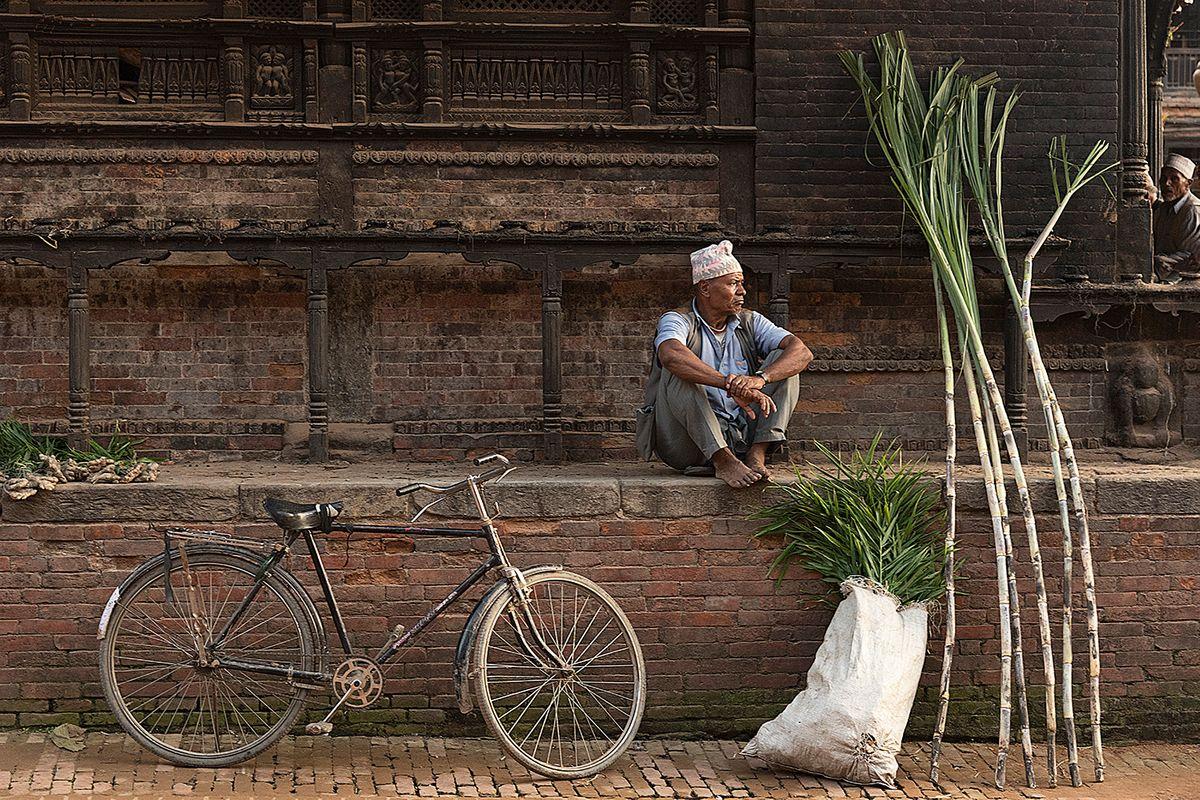 Nepal man with bike