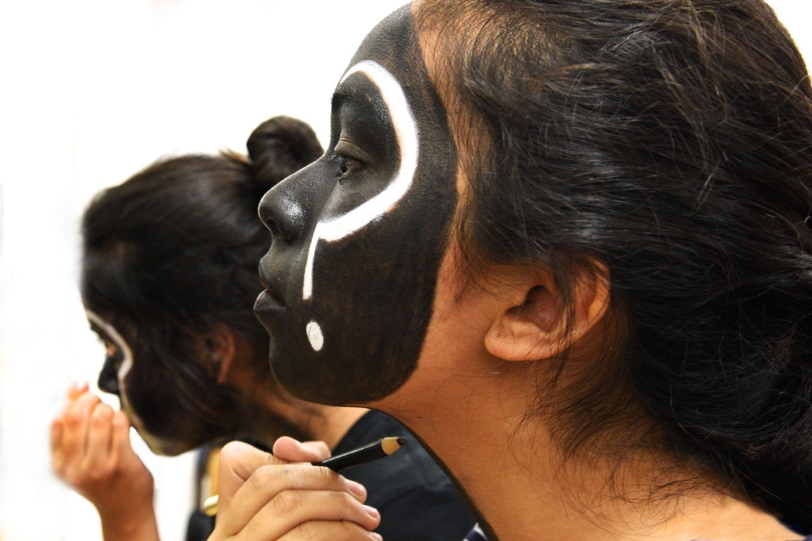 applying face paint