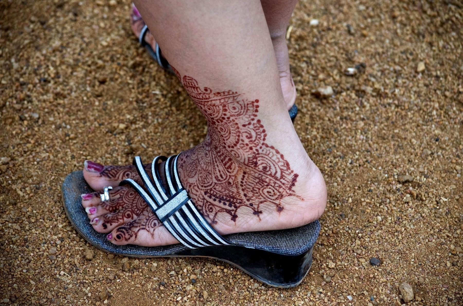 Henna foot tattoo