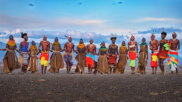 Turkana and Samburu tribes at sunset