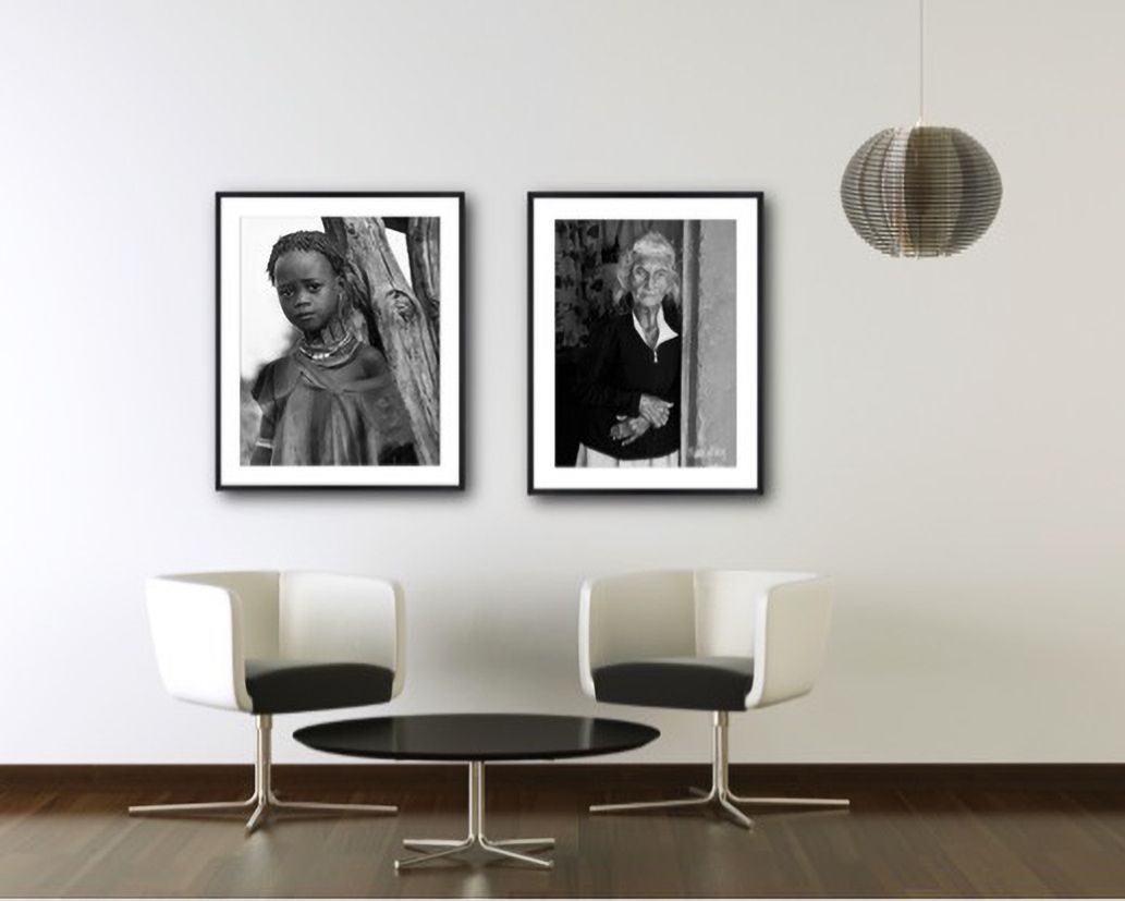 b&w framed portraits