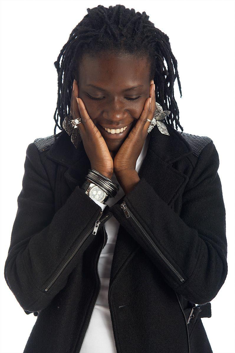 hip black woman smiling