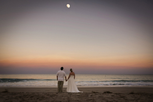 Bride and Groom gazing at the moon