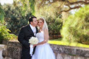 Wedding Couple in the Vizcaya Gardens Miami Fl.