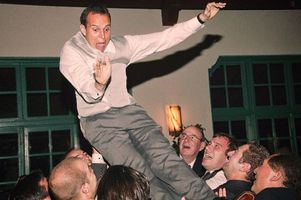 Groom thrown into the air