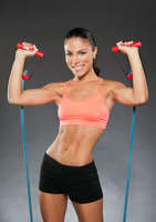Girl with rubber workout band
