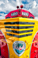 Shiny Red and Yellow East Coast Railroad Locomotive