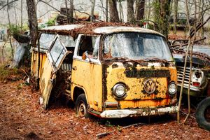 Junked VW bus