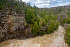 Cliff and flowing river