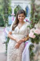 Bride in the garden smiling
