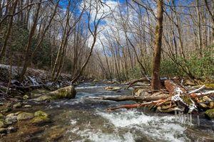 Stream and snow Smoky Mountains