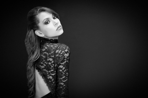 Fashion model in lace dress