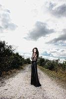 Model on gravel road