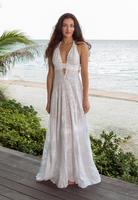 Woman standing on beach deck