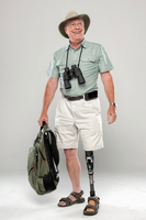 Hiker with artificial leg