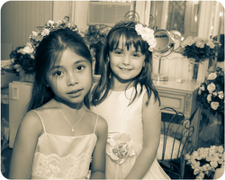 Two Flower girls in dressing room Black & White