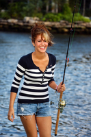 Young girl with fishing pole