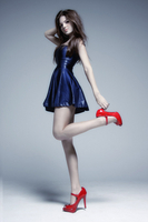 Blue dress Red shoes
