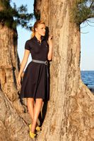 Model in black dress