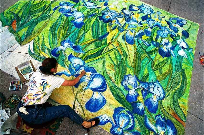 Chalk Artist Inspired by Van Gogh's 'Irises'