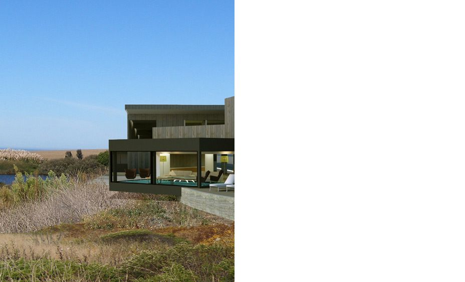 Twin Reflections Coastal Retreat:  New Greenbuild Construction, 2007Size: 7,500 s.f.Location: San Mateo Coast, CaliforniaThis coastal California villa is a retreat for a family from Chicago. The plot's Pacific Coast frontage enjoys several panoramic views.