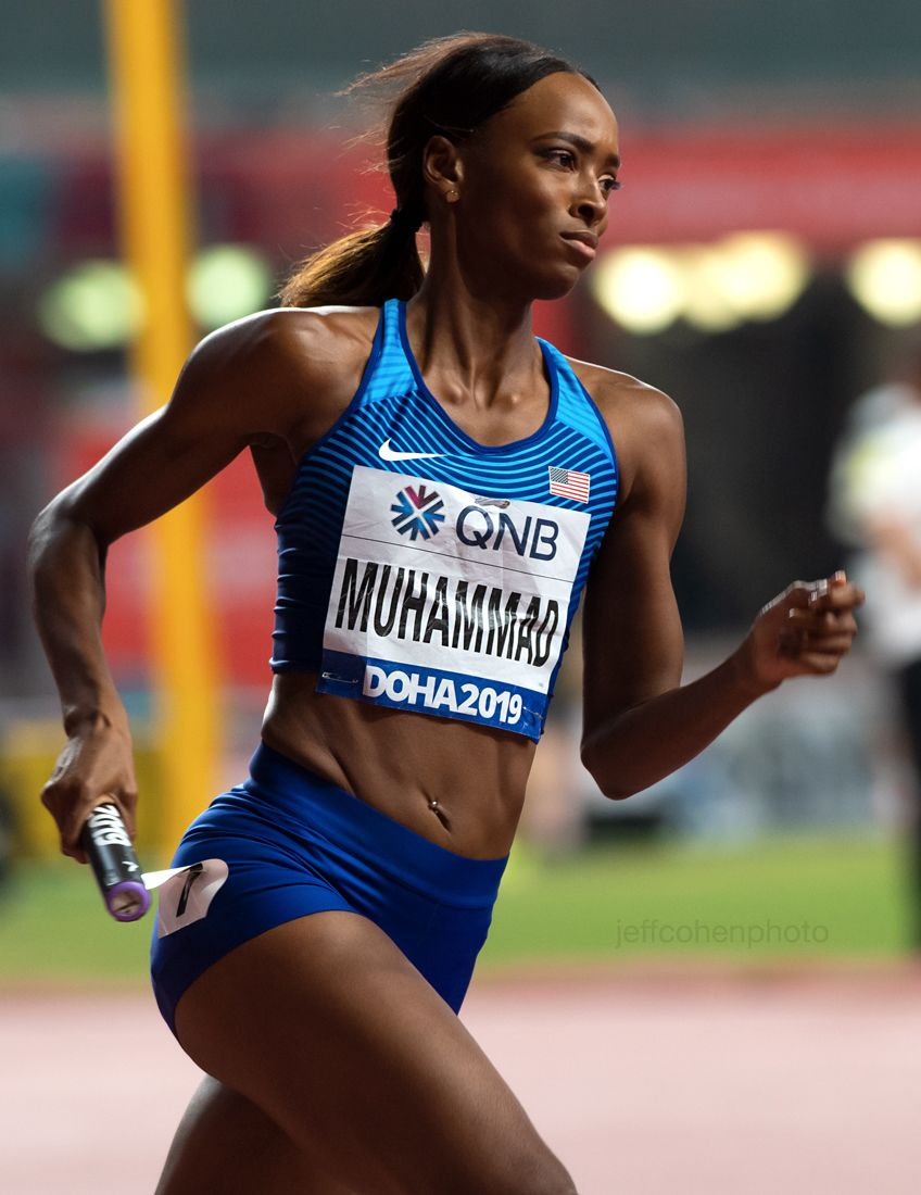 Daliliah Muhammad, 4x400 meter relay, Team USA , gold medal. 2019 IAAF World Athletics Championships Doha, Qatar.