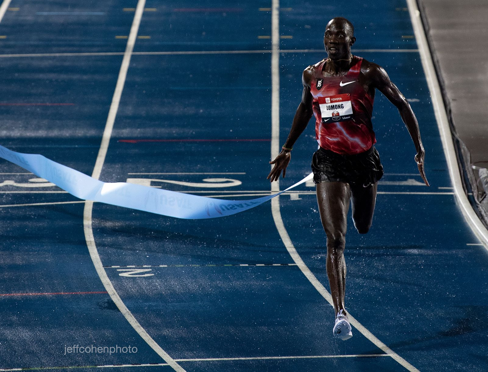 Lopez Lomong, wins the 10,000 meters at the 2019 Toyota USATF Outdoor Championships in Des Moines, Iowa.