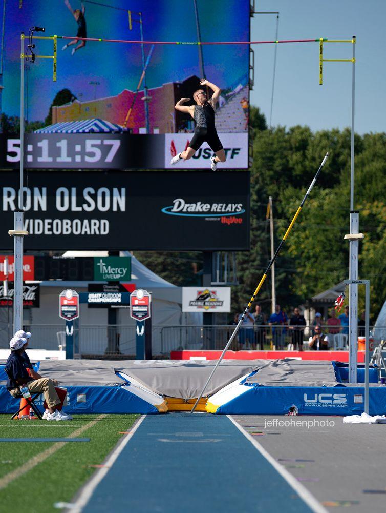 Sam Kendricks, pole vault American record vault. 60.6 meters.  2019 Toyota USATF Outdoor Championships, Des Moines, Iowa.