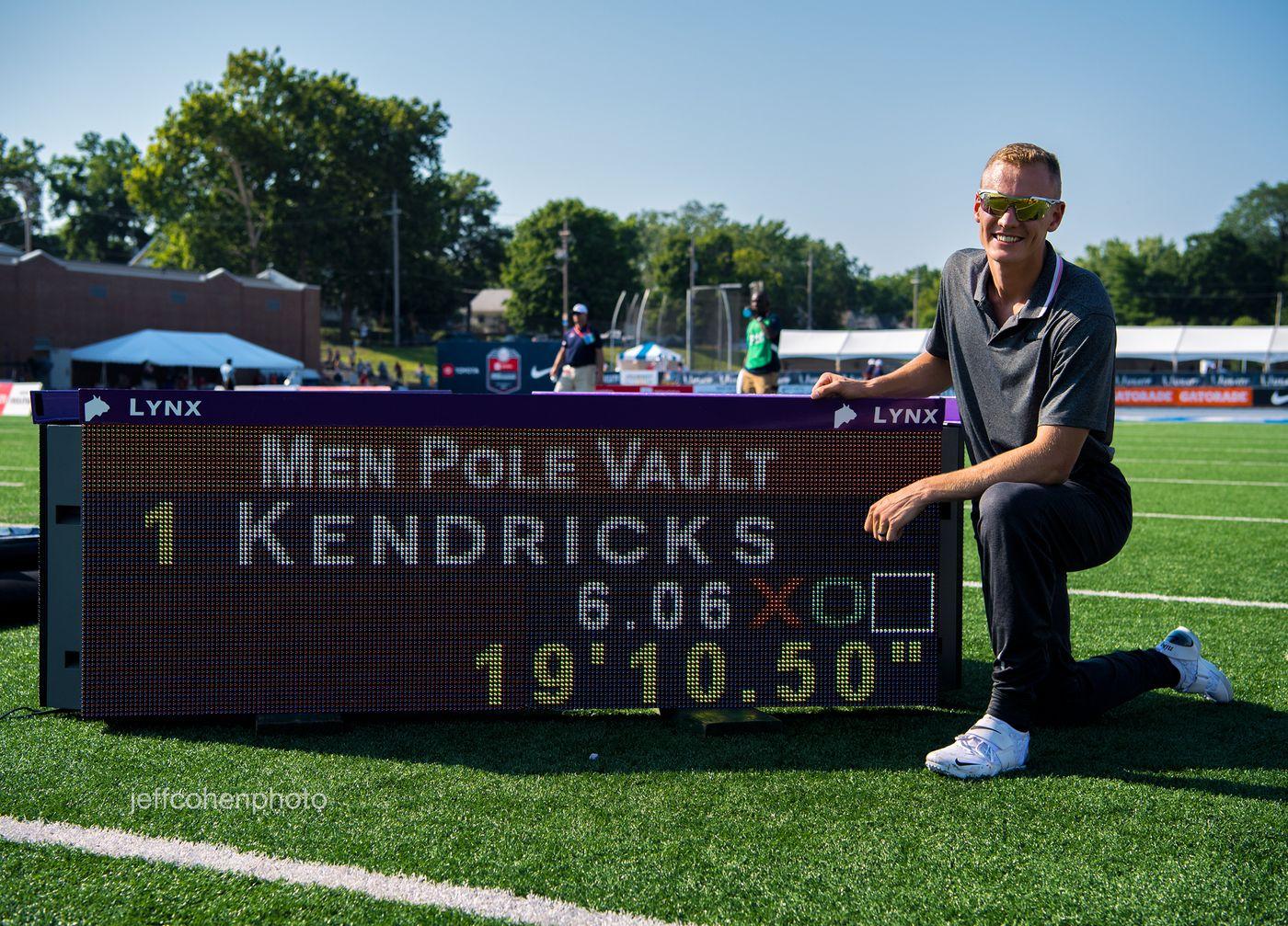Sam Kendricks, pole vault, 6.06m American record