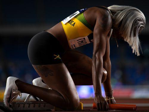 Elaine Thompson, Jamaica. Olympic Champion, World Champion.    2019 IAAF World Relays, Yokohama, Japan.