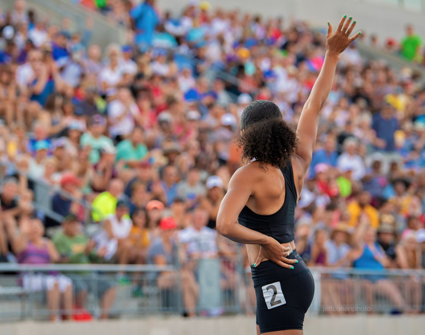Allyson Felix waves to the crowd at the 2019 Toyota USATF Outdoor Track and Field Championships in Des Moines, Iowa.