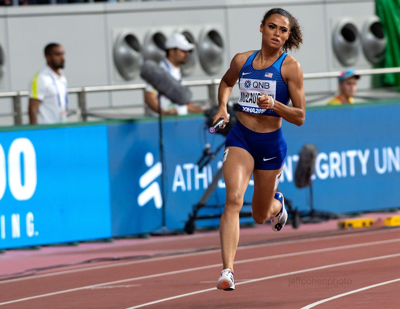 Sydney Mclaughlin, 4x400 meter relay, Team USA , gold medal. 2019 IAAF World Athletics Championships Doha, Qatar.
