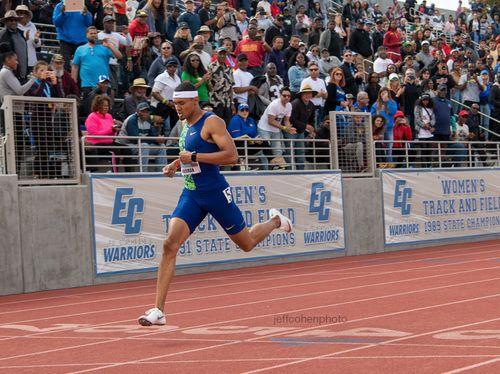 Michael Norman runs 43.45 sec 400 meters at the 2019 Mt Sac Relays in Los Angeles.