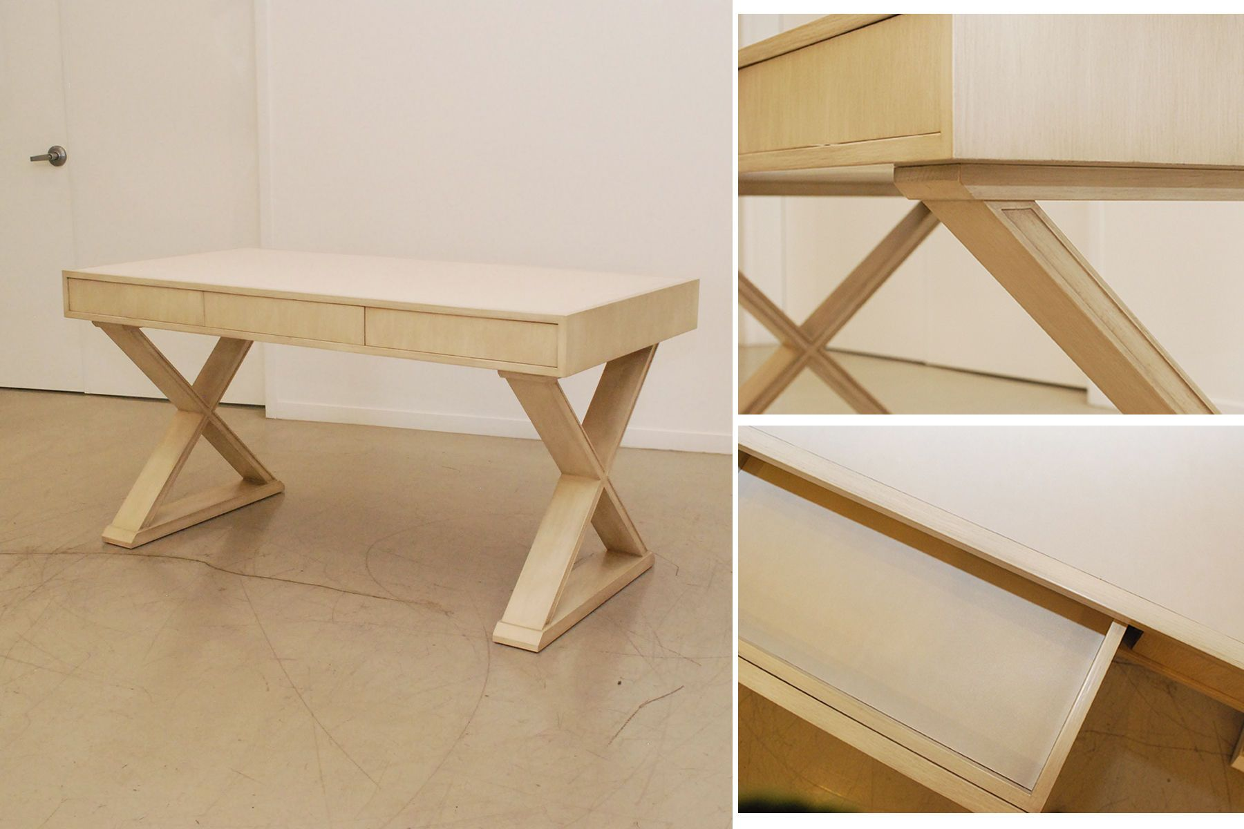 White Oak X-Base Desk Detail