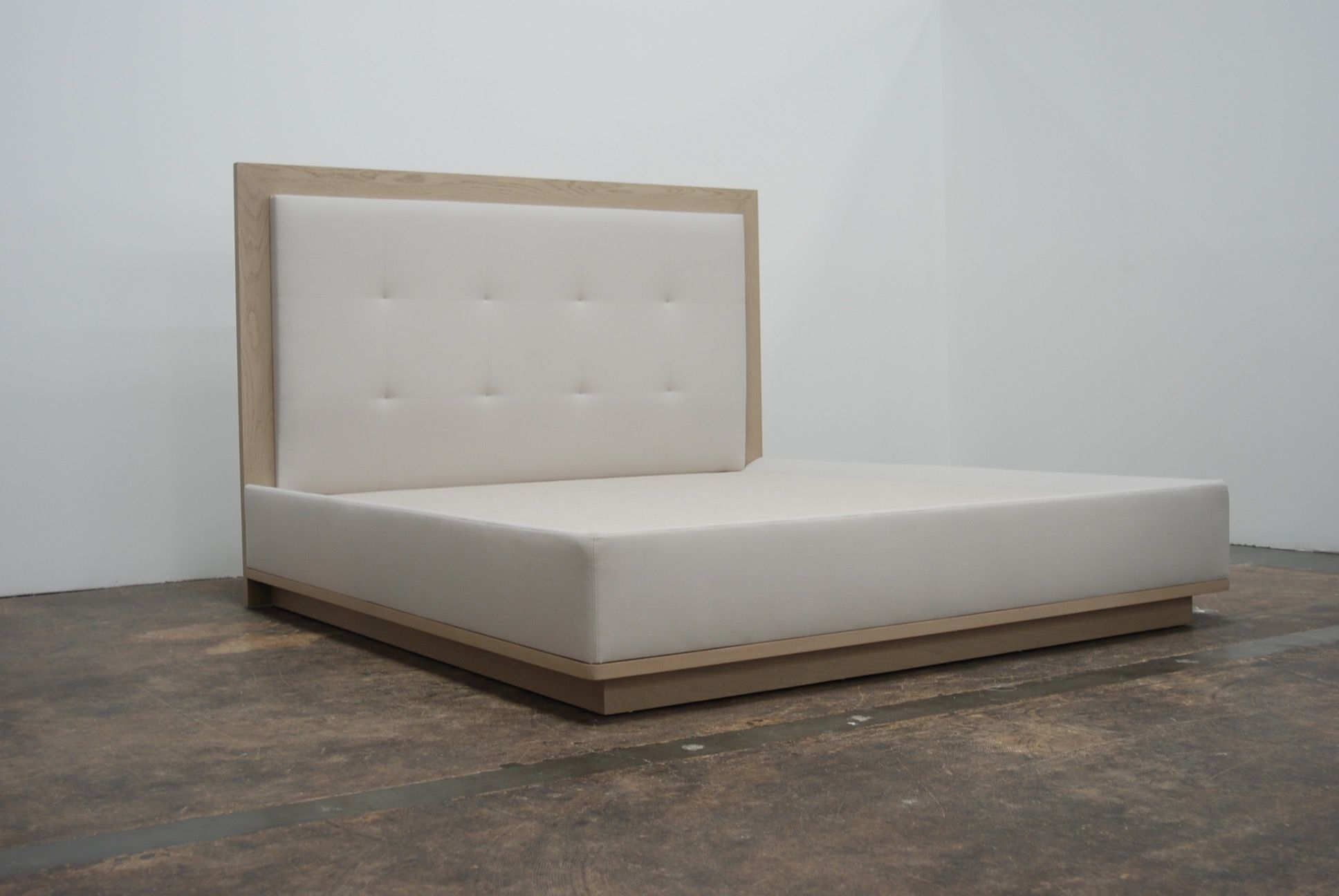 Tufted Bed with Wood Base