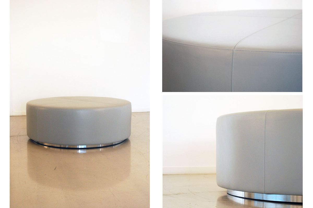 Large Leather Ottoman on Chrome Base