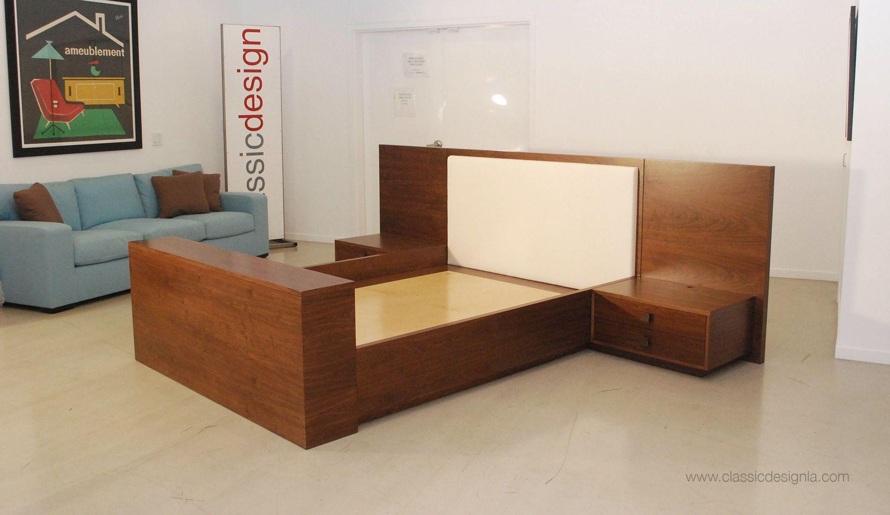 Custom Walnut Bed, Base & Nightstands