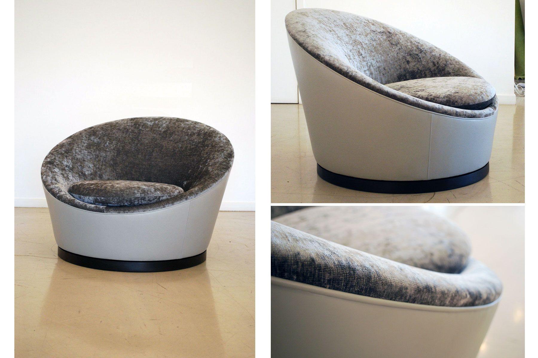 Custom Leather & Velvet bucket chair